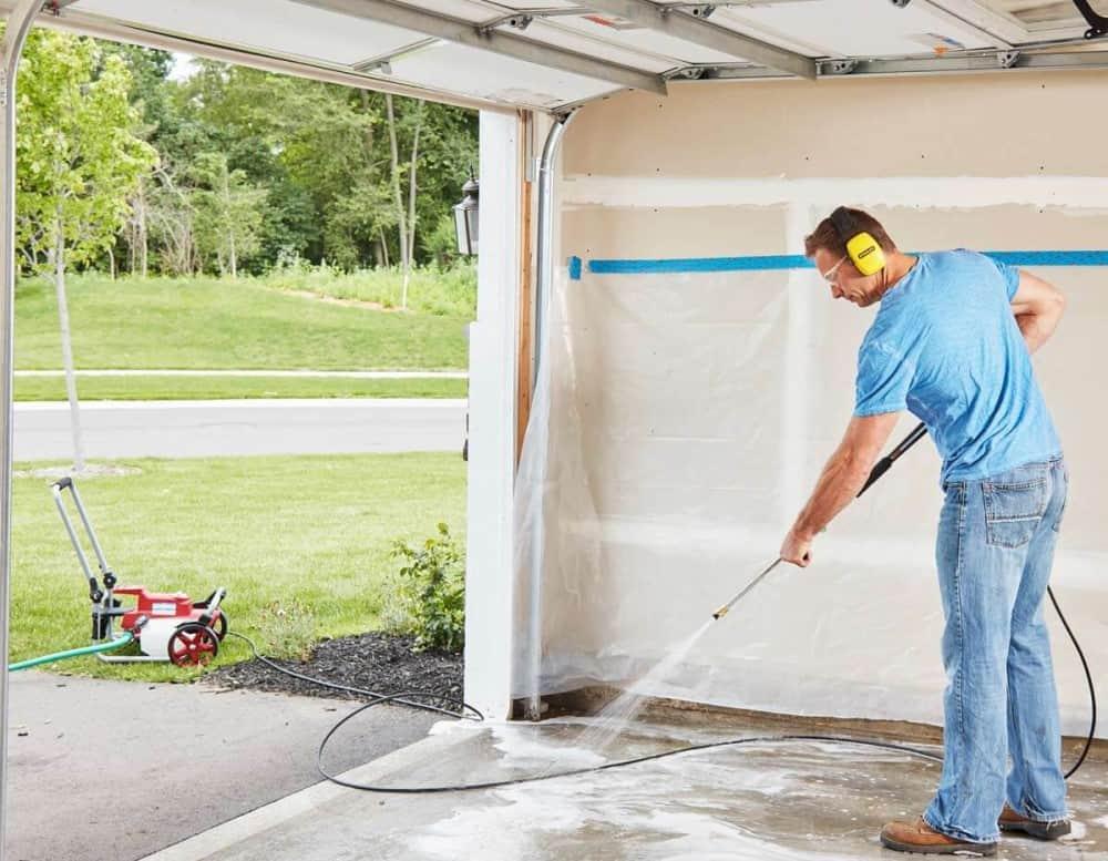 Pressure Wash Garage Floor