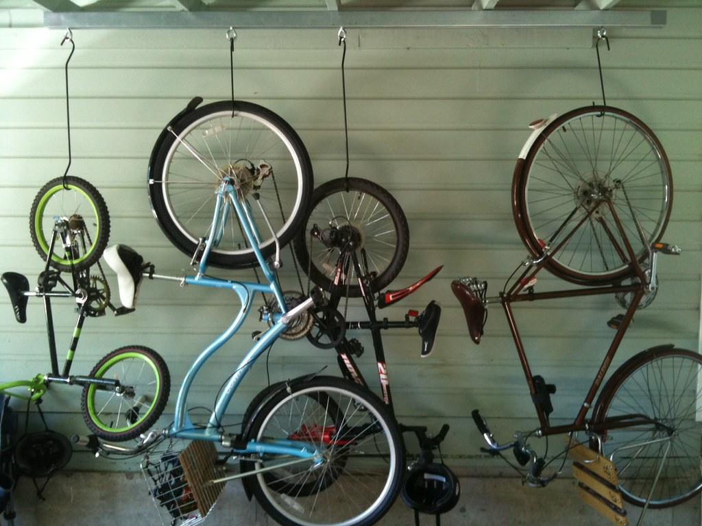 hung up bikes on a bike rack