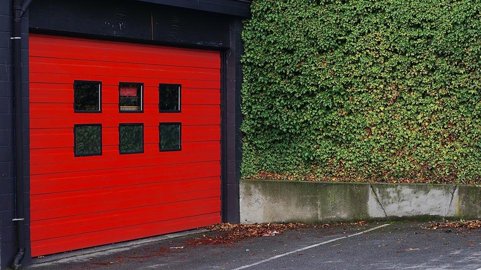 Red Garage Door with Windows